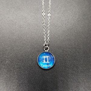 Gemini Zodiac Astrology Circle Necklace